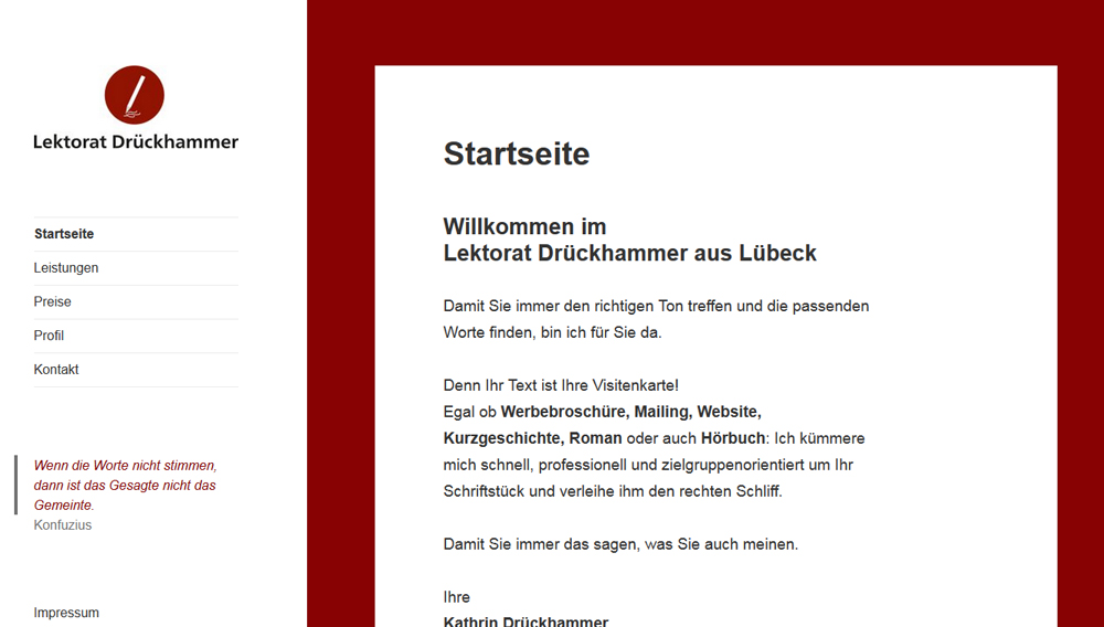 Lektorat Drückhammer - Webseite